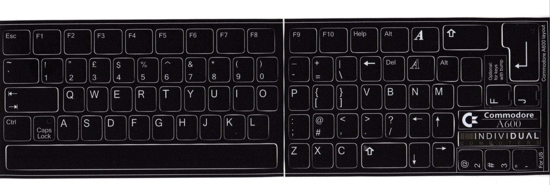Amiga Keyboard non numeric keypad Sticker - A600 style